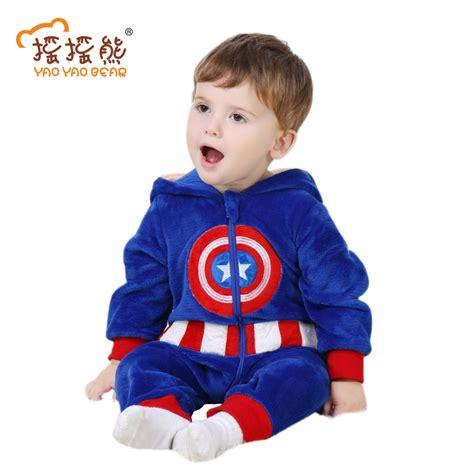 3 M Boy baby romper captain america costume sleeve 3m 24m boys clothes warm velvet jumpsuit