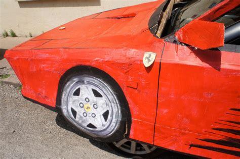 designboom ferrari benedetto bufalino transforms an old car into a cardboard