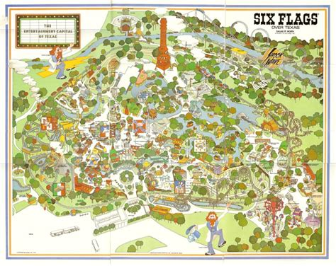 six flags texas arlington map six flags texas shane s amusement attic 1980 s promo material