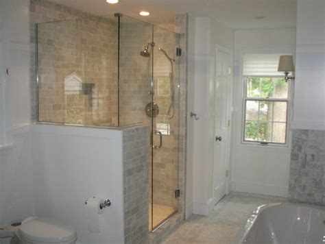 Shower Doors And Walls How High Is The Half Wall Next To The Shower Door Thanks