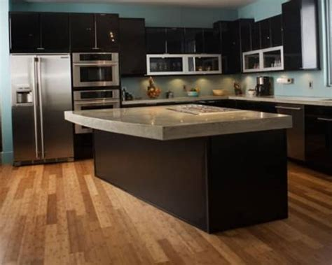 black kitchen cabinets wood floors the interior design