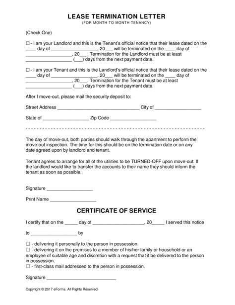 Rent Termination Letter To Tenant Free Rental Lease Agreement Templates Residential Commercial Pdf Word Eforms Free