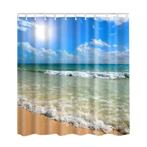 beach fabric shower curtain waterproof ocean sea beach shell print bathroom fabric