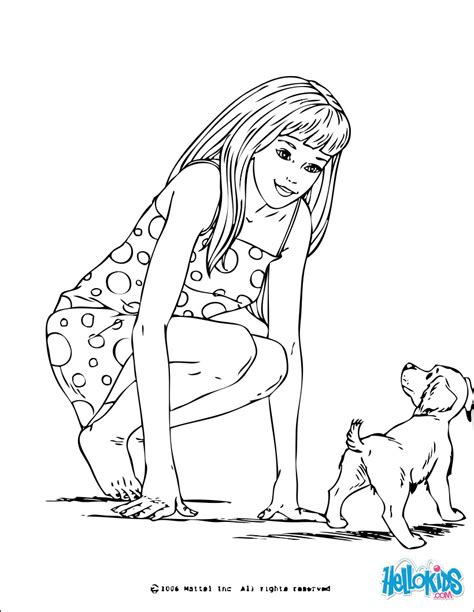 barbie dog coloring page barbie and a small dog coloring pages hellokids com