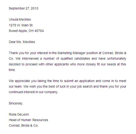 Business Rejection Letter Response 27 rejection letters template hr templates free