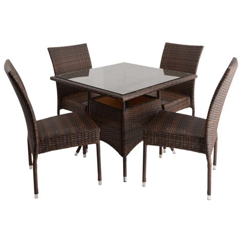 azuma 5 wicker rattan dining table chair