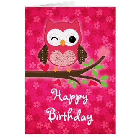 Girly Birthday Cards Hot Pink Cute Owl Girly Happy Birthday Greeting Card Zazzle