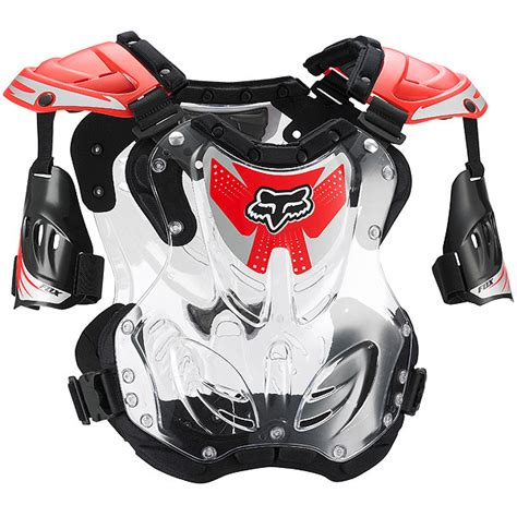 fox motocross body fox racing new mx youth r3 clear red chest protector