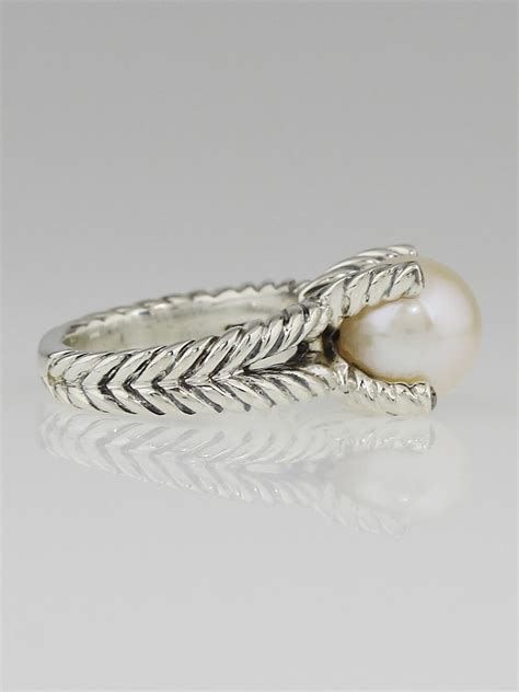 david yurman sterling silver and cable pearl ring