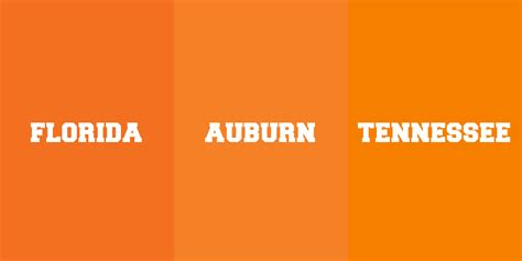 auburn orange vs tennessee orange and florida orange
