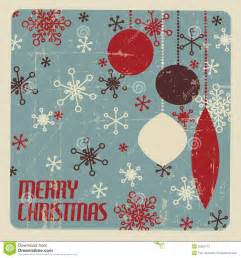 retro christmas card with christmas decorations stock