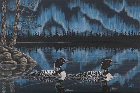 Loons Under Northern Lights By Ann Kelly National Loons Lights