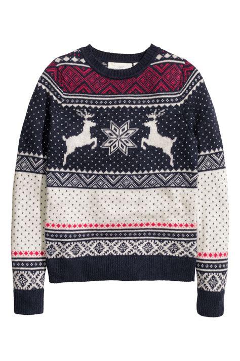 jacquard knit sweater blue reindeer sale h m us