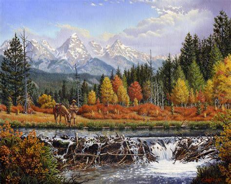 landscape and western art mountain man trapper explorer beaver dam mountain landscape painting prints