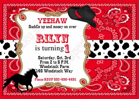 cowboy invitation template cowboy birthday decorations printable invitation 3 black