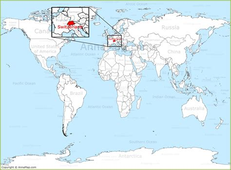 on the map switzerland on the world map annamap