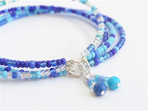 blue bead blue beaded bracelet seed bead bracelet by handmadeintoronto