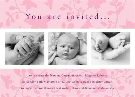 Baptism Invitations Gift And Craft Personalised Christening Invites Template Naming Baby Dedication Card Template