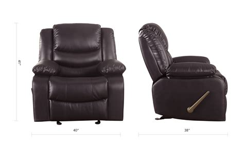 plush recliner chair reclining and rocking plush over stuffed brown bonded