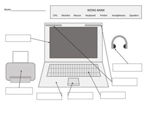 worksheet computer parts parts of a computer worksheets including laptop diagram tpt