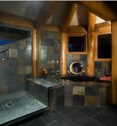 log home bathroom ideas log cabin bathroom w dark slate how do we estimate rehab costs http ezrehab info has the