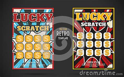 scratch card design template scratch lottery ticket vector design template stock