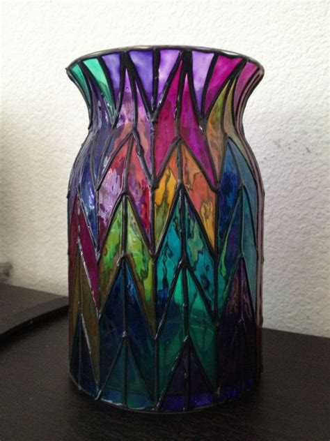 Stained Glass Vases Large Chevron Style Multi Colored Glass Vase Hand