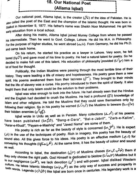 Essay On Allama Iqbal In Urdu For Class 6 by Allama Iqbal Essay In Urdu For Clas
