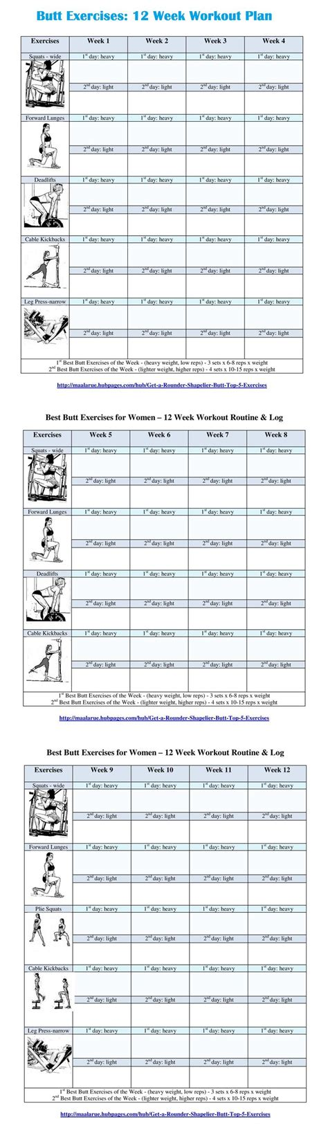 printable workout plan for the gym 12 week butt exercise routine free pdf for download or