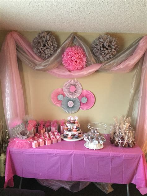 girl baby shower table decorations pink and gray baby girl shower baby showers pinterest