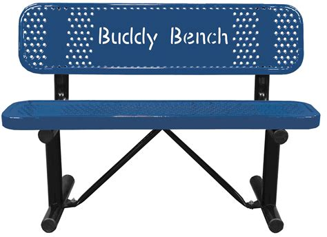 Metal Picnic Bench by Buddy Bench Customized Logo Or Words Cut Into The Bench Back