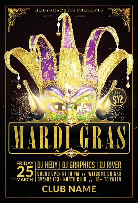 Carnival Mardi Gras Flyer Template By Hedygraphics Graphicriver Mardi Gras Flyer Template Free