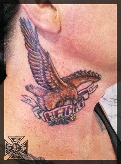 eagle tattoo in neck heimat neck eagle tattoo by vonschloss on deviantart