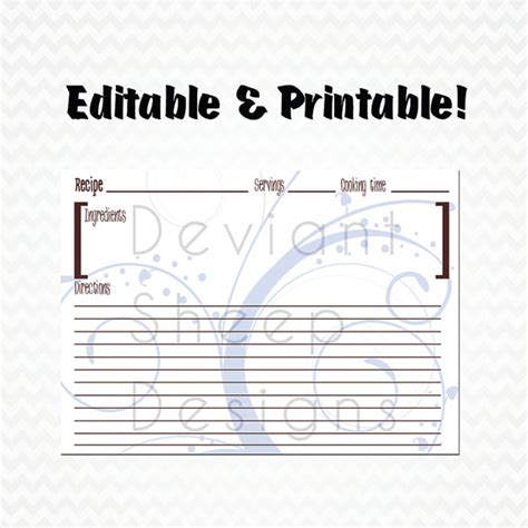 editable printable recipe cards free items similar to 60 off sale editable and printable
