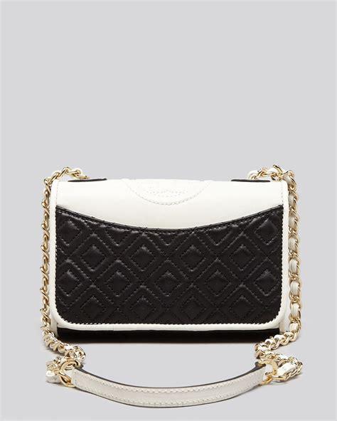 Burch Flemming Small Black 1 burch shoulder bag fleming colorblock mini flap in white lyst