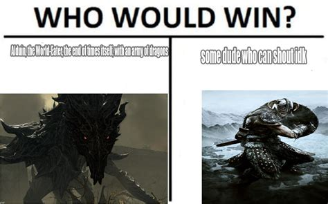 Dragonborn Meme - who would win alduin or the dragonborn the elder
