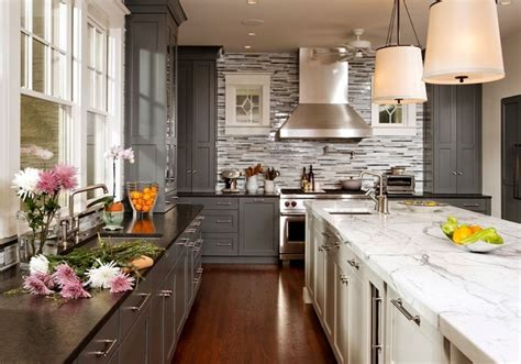 grey and white kitchen cabinets gray perimeter cabinets