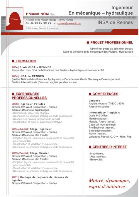 Modele Cv Pour Word by Modele Lettre De Motivation Word 2016