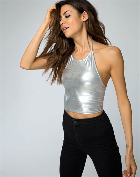 Could You Be The Next Shiny Fashion by Buy Motel Franny Halterneck Crop In Silver Shiny Spandex