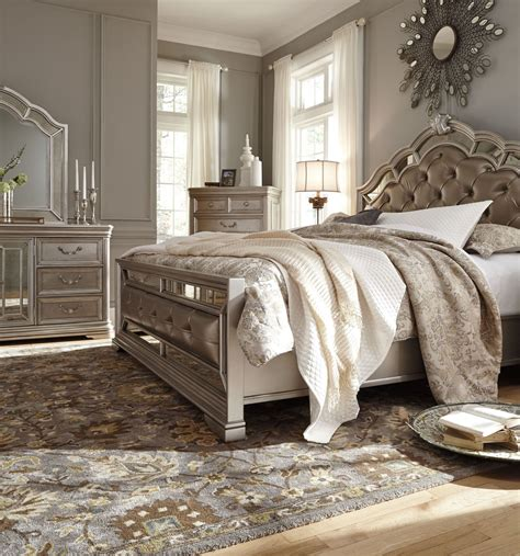 ashley furniture b720 birlanny traditional queen king birlanny silver queen upholstered panel bed b720 57 54 96