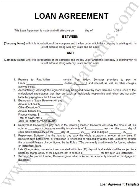 Printable Sle Personal Loan Agreement Form Laywers Template Forms Online Pinterest Term Loan Agreement Template