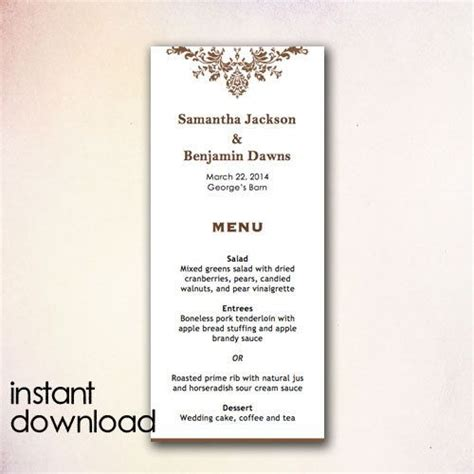 menu template wedding diy wedding menu template instant by cheapobride