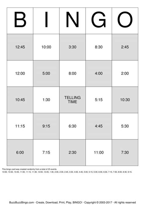 free printable clock bingo cards telling time bingo cards to download print and customize