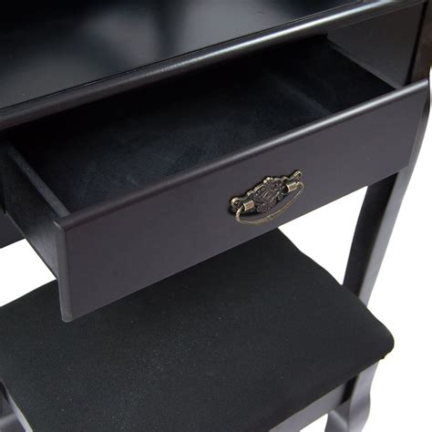 black makeup desk with drawers nishano dressing stool mirror bedroom makeup