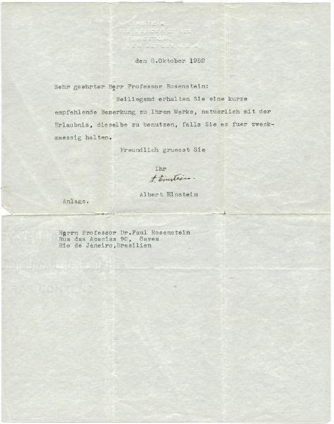 Recommendation Letter In German Lot Detail Albert Einstein Typed Signed Recommendation