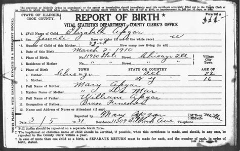 Birth Records Cook County Il Birth Certificates Of Children Of William And Demar Apgar Chicago Cook County