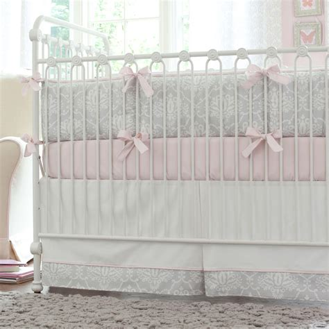Pink And Gray Damask Crib Bedding Baby Bedding For Girls Baby Bedding For