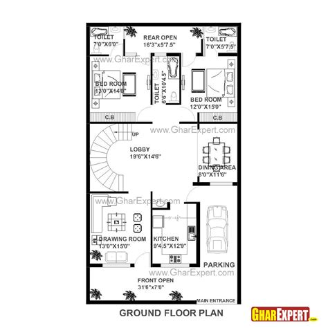 dimensions of 200 square feet house plan of 30 feet by 60 feet plot 1800 squre feet