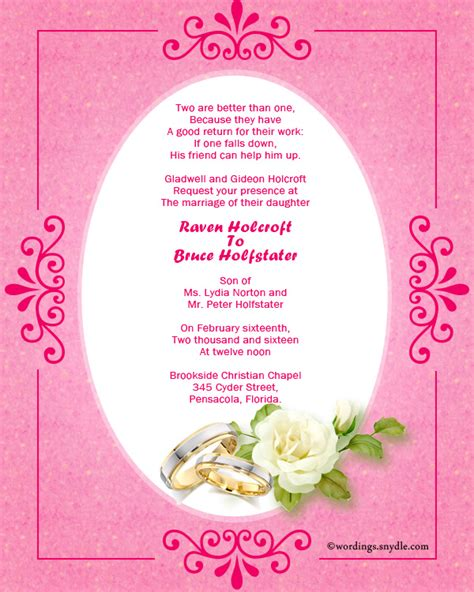 Wedding Card Invitation Wordings In by Christian Wedding Invitation Wording Sles Wordings