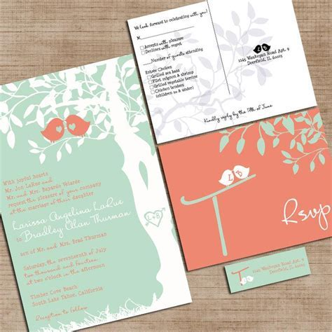 Mint Green And Coral Wedding Invitations, Custom Love